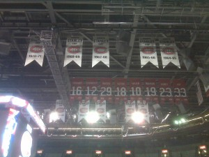 All the banners and retired numbers in the rafters at the Bell Centre