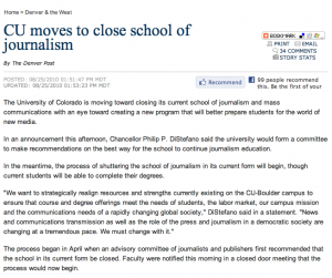 An image that shows the Denver Post Headline that says CU Moves to close school of journalism
